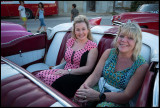 Susanne and Marianne in a 1957 Cadillac