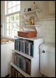 The toilet in Fincia Vigia with bookshelf