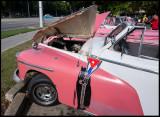 Car display near Plaza de la Revolution