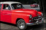 Red Chevy - Car display near Plaza de la Revolution