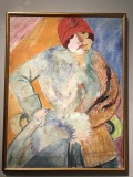 Lucy in Fur Coat and Red Hat (1915) - Sigrid Hjertén - 0040