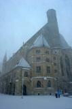 Snowfall in Vienna.Minoritenkirche