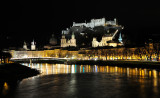 View on old town of Salzburg from the quay of Salzach river