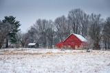 Little red barn on a frosty