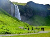 Seljalandsfoss waterfalls, tourists to falls,  Iceland 205