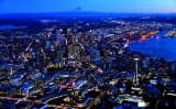 Space Needle, Seattle Skyline, Elliott Bay, Mount Rainier at Blue Hour, Washington 873