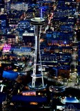 Space Needle and Chihuly Glass Garden and Pacific Science Center in Blue Hour, Seattle, Washington 1047