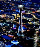 Space Needle and Chihuly Glass Garden and Pacific Science Center in Blue Hour, Seattle, Washington 956
