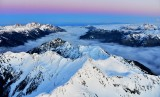 Sunset over Diamond Mt, Dosewallips River Valley, Mount Costance, Mt Jupiter, The Brothers, Mt Rainier, Olympic Mountains 933