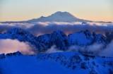 Cascade Mountain,  Garfield Mountain, Treen Mountain and Mount Rainier at Sunset, Washington 618