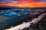 Jökulsárlón  lagoon ,sunset