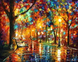 COLORFUL NIGHT — PALETTE KNIFE Oil Painting On Canvas By Leonid Afremov