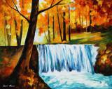 AUTUMN WATERFALL — oil painting on canvas