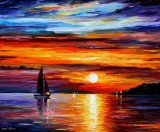 QUIET SUNSET — PALETTE KNIFE Oil Painting On Canvas By Leonid Afremov