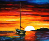 SUNSET BY THE HILL — oil painting on canvas