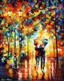 COUPLE UNDER ONE UMBRELLA — PALETTE KNIFE Oil Painting On Canvas By Leonid Afremov