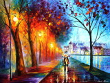 CITY BY THE LAKE — PALETTE KNIFE Oil Painting On Canvas By Leonid Afremov