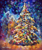 FIR-TREE (Christmas Tree) — PALETTE KNIFE Oil Painting On Canvas By Leonid Afremov
