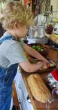 The Chef, Rubbing Garlic on Bread