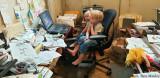 Watching Cartoons in Grandpa's Office