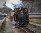 Ffestiniog railway train on the Cob at Porthmadog