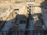 Maze beneath the arena floor where animals were caged, gladiators warmed up, prisoners said final prayers & workers set the show