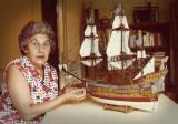 Mum with the model ship La Couronne