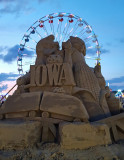 Sand sculpture with ferris wheel