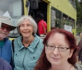 Margaret, Deb, Chuck and a double decker