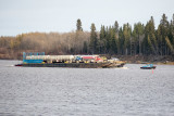 2018 October 24 Small tugs take a barge load of fuel to Moose Factory.