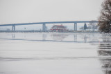 Fog up the Bay of Quinte towards Meyers' Pier and the Norris Whitney Bridge 2020 January 10