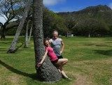 Janet and I in a nearly deserted Waikiki Park 2020