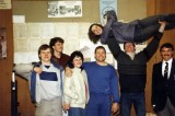 1986 lifting Janet after the East Midlands Powerlifting contest  Cambridge