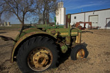 Old John Deere Tractors and the Aline, Oklahoma Grain Elevator.