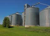 Hadley, Minnesota Wood Grain Elevator with Metal Siding.