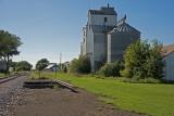 Walnut Grove, Minnesota Old Wood Grain Elevator with Metal Siding.