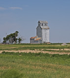 Milepost, Kansas Old Wooden Grain Elevator.