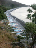 Fishing boats on a black beach, NE Bali