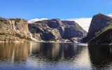 Tueeulala and Wapama Falls over the reservoir in the Hetch Hetchy Valley of Yosemite NP
