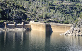 The O'Shaughnessy Dam as seen from the Wapama Falls Trail in the Hetch Hetchy Valley of Yosemite NP