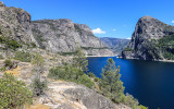 The Hetch Hetchy Valley from the Wapama Falls Trail in the Hetch Hetchy Valley of Yosemite NP