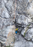 Search and Rescue team member is dropped off in the valley below Taft Point in Yosemite National Park