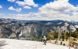 Yosemite Falls and Mount Hoffman (10,850 ft.) as seen from on top of Sentinel Dome in Yosemite National Park