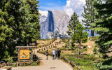 The entrance to Glacier Point with Half Dome in the distance in Yosemite National Park