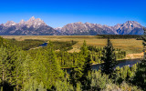 Grand Teton Mountain Range from the Snake River Overlook in Grand Teton National Park