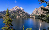 The Grand Teton Range across Jenny Lake from the Jenny Lake Overlook in Grand Teton National Park
