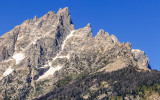 Close up of the rugged Grand Teton Peaks in Grand Teton National Park