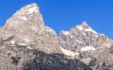 Close up of Grand Teton Peak from along the Teton Park Road in Grand Teton National Park