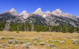 The Teton Peaks as seen from the Teton Park Road in Grand Teton National Park