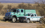 US Forest Service fire equipment posted along the Pronghorn Loop in Buenos Aires NWR